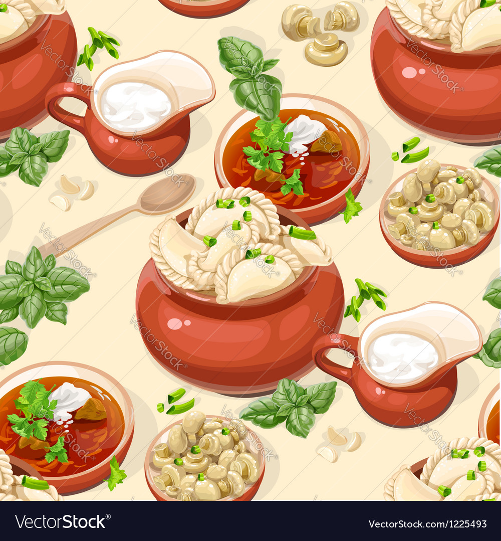 Seamless pattern of ukrainian traditional food vector | Price: 3 Credit (USD $3)