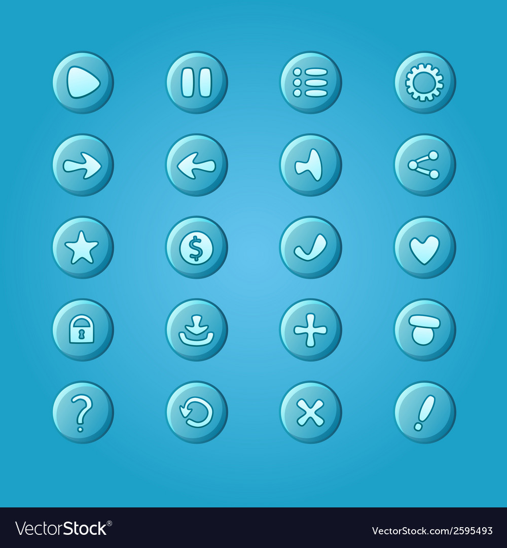Set of mobile bright blue elements for ui game vector | Price: 1 Credit (USD $1)
