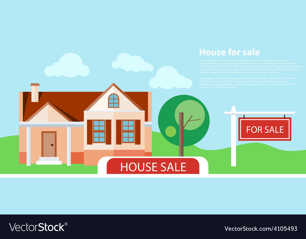 Sold home for sale sign vector | Price: 1 Credit (USD $1)