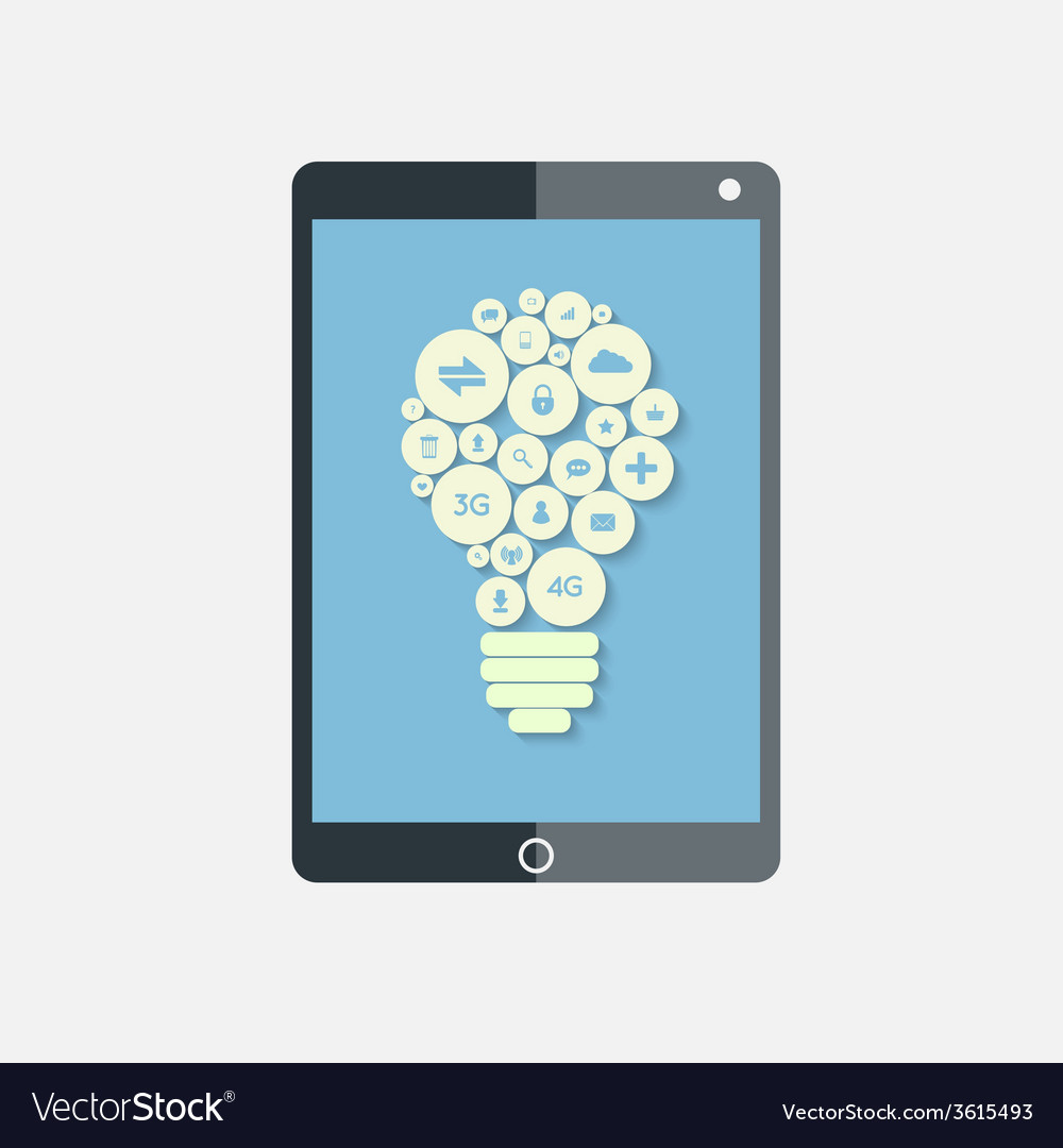 Tablet with bulb apps vector | Price: 1 Credit (USD $1)
