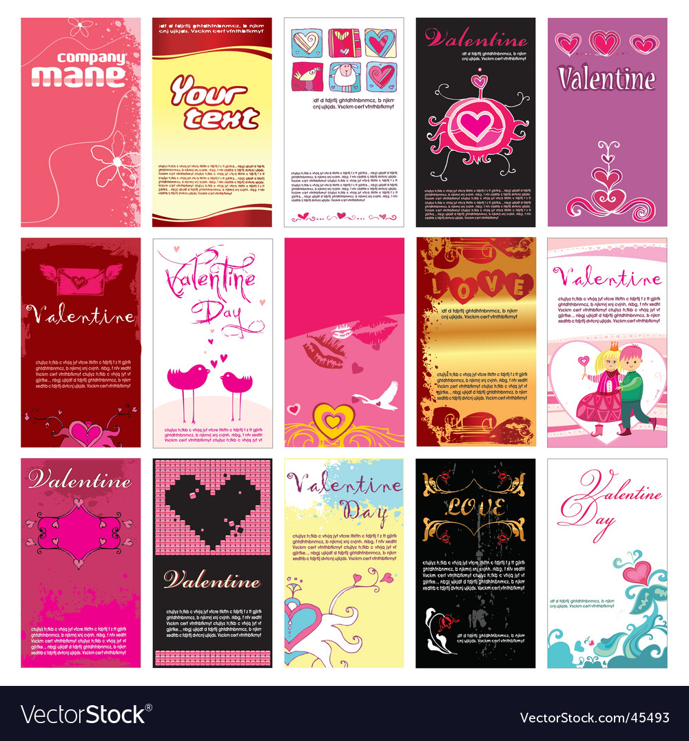 Valentins day cards templates vector | Price: 3 Credit (USD $3)
