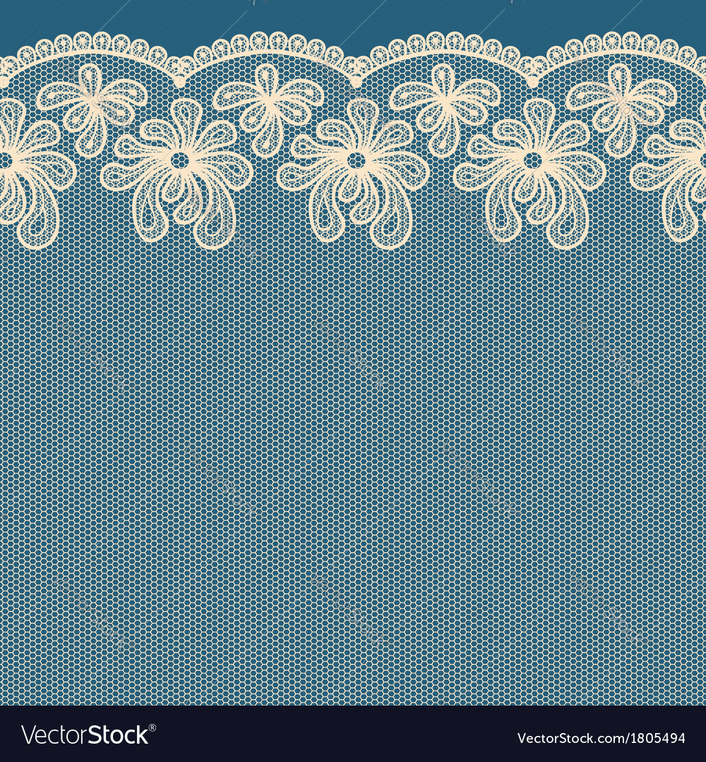 Beige seamless flower lace border on blue backgrou vector | Price: 1 Credit (USD $1)