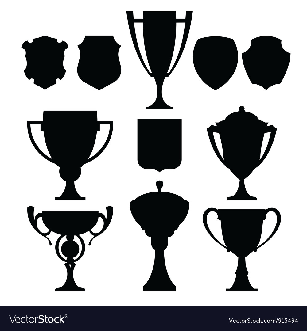 Black champion cup and coat of arms vector | Price: 1 Credit (USD $1)