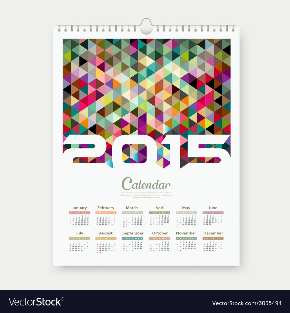 Calendar 2015 triangle geometry background vector | Price: 1 Credit (USD $1)