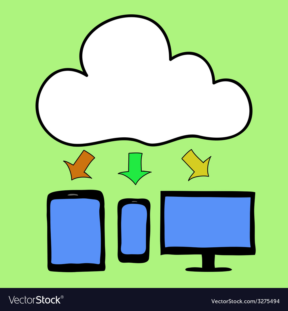 Cartoon style cloud computing vector | Price: 1 Credit (USD $1)