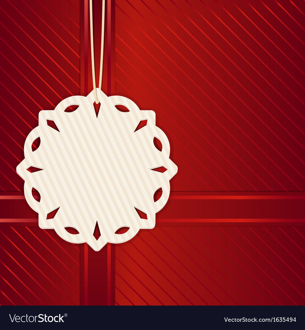 Christmas snowflake label on red vector | Price: 1 Credit (USD $1)
