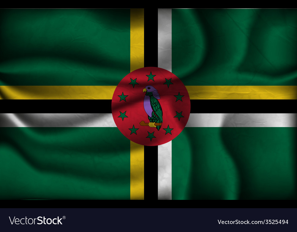 Crumpled flag of dominica on a light background vector   Price: 1 Credit (USD $1)