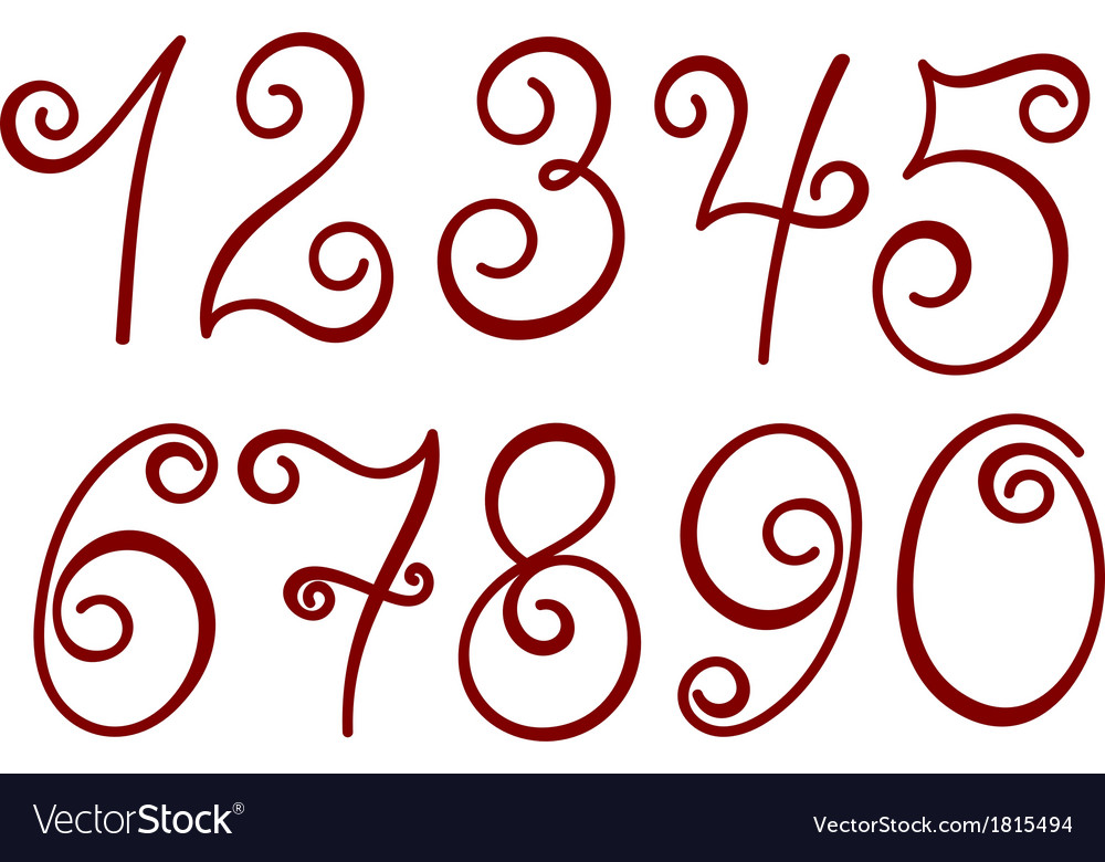 Curly numbers vector | Price: 1 Credit (USD $1)