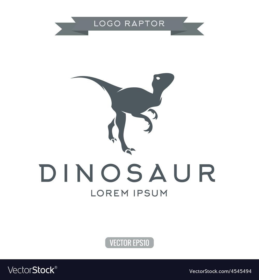 Dinosaur raptor reptile flat plain logo icon vector | Price: 1 Credit (USD $1)