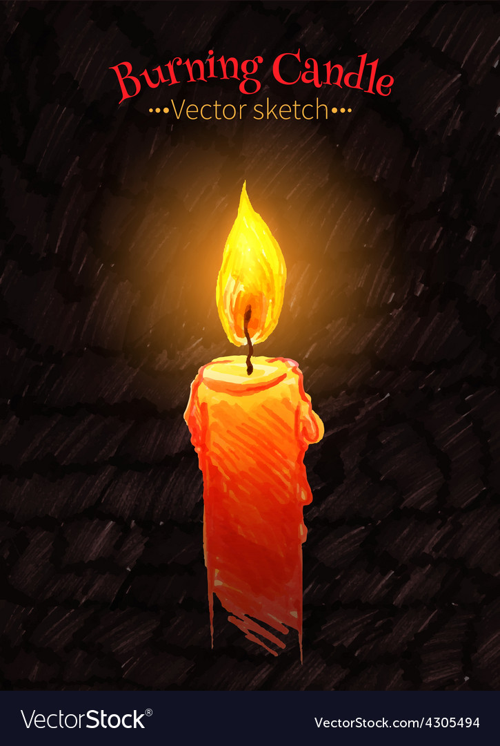 Felt pen drawing of burning candle vector | Price: 1 Credit (USD $1)