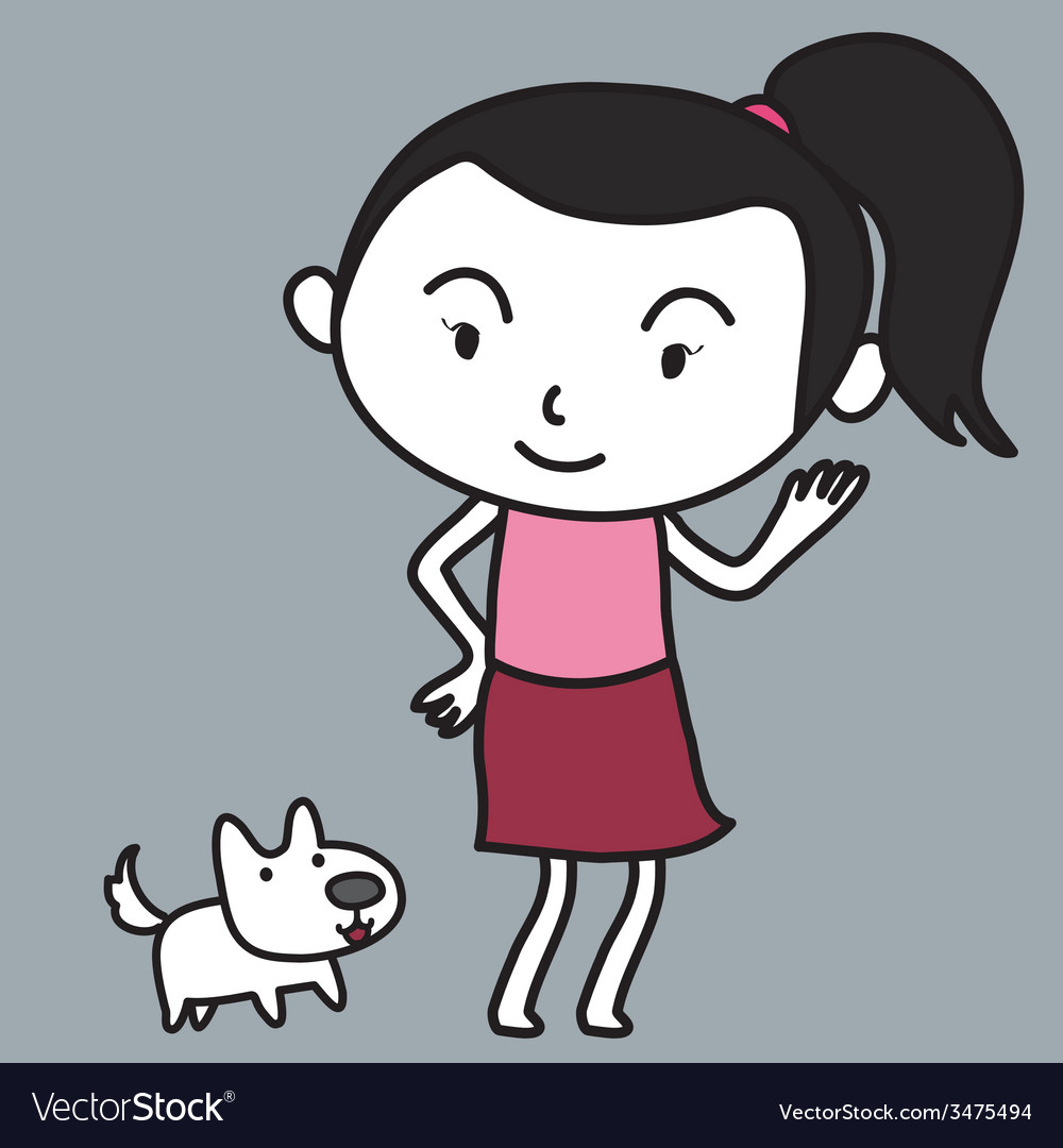 Girl and dog vector | Price: 1 Credit (USD $1)