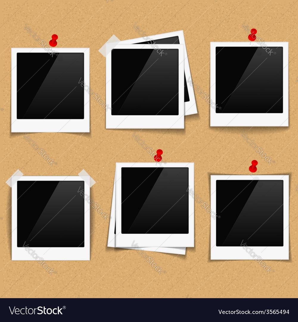 Photo frames on bulletin board vector