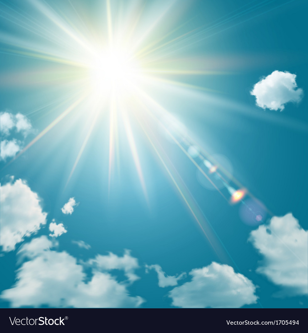 Realistic shining sun with lens flare vector | Price: 1 Credit (USD $1)