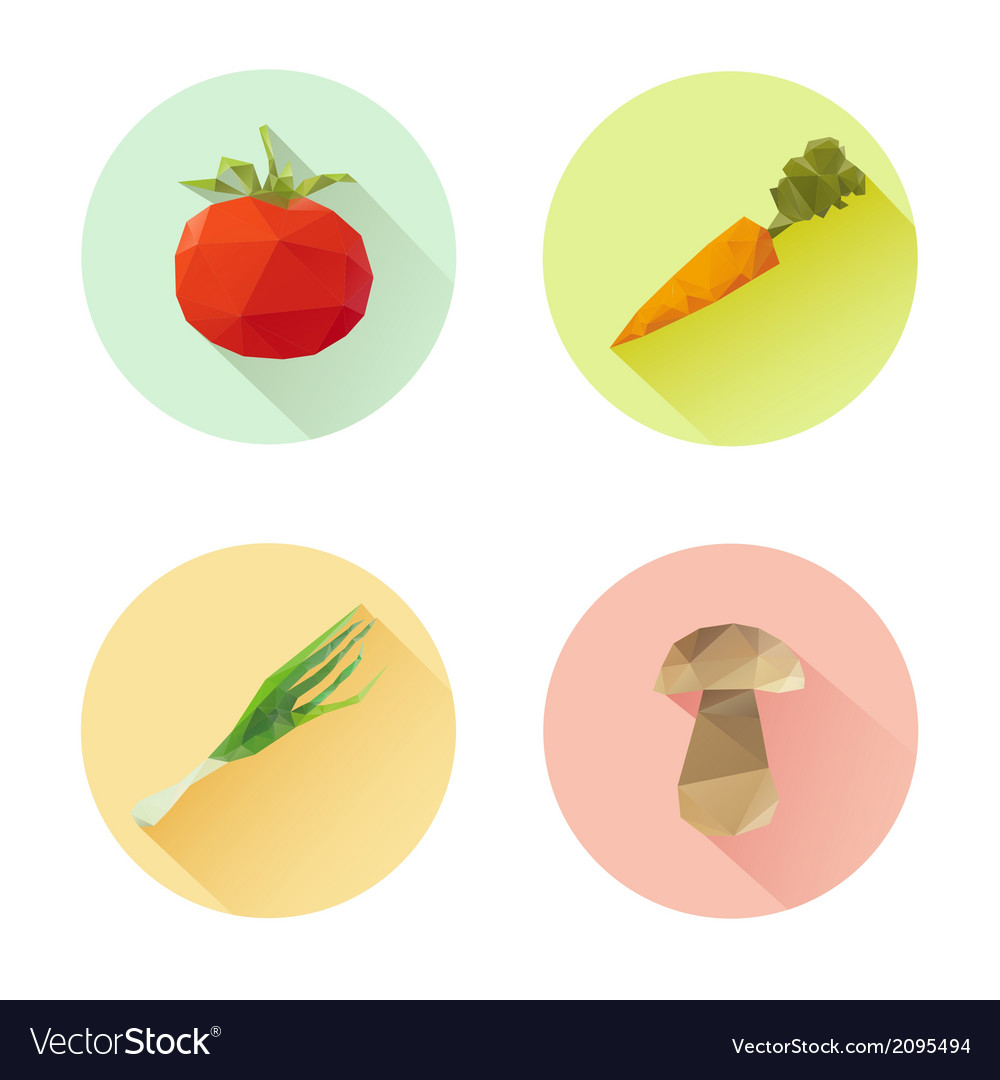 Set of flat design vegetables icons isolated vector | Price: 1 Credit (USD $1)