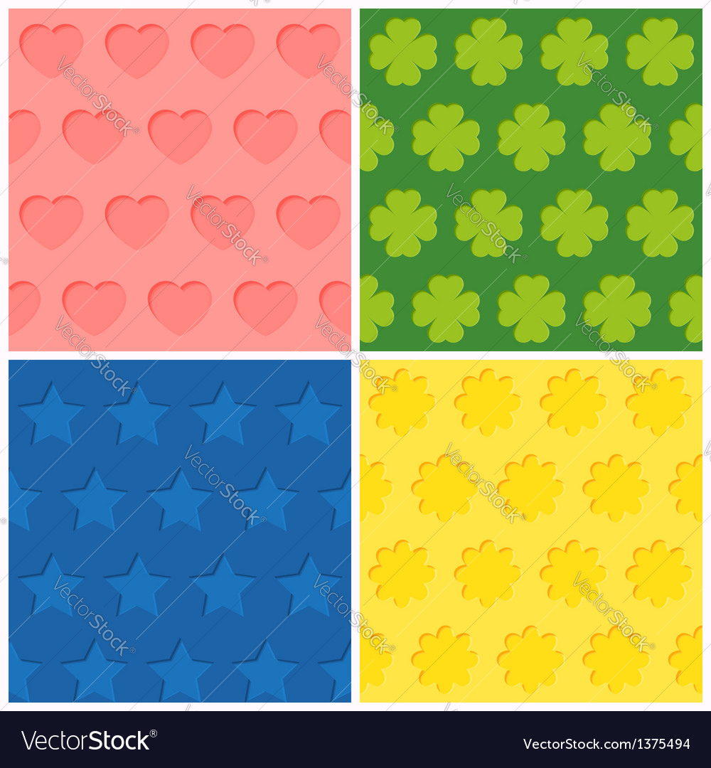 Set of four seamless relief patterns vector | Price: 1 Credit (USD $1)