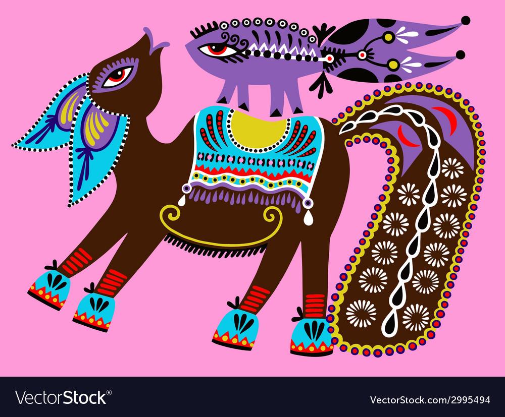 Ukrainian tribal ethnic painting unusual horse vector | Price: 1 Credit (USD $1)