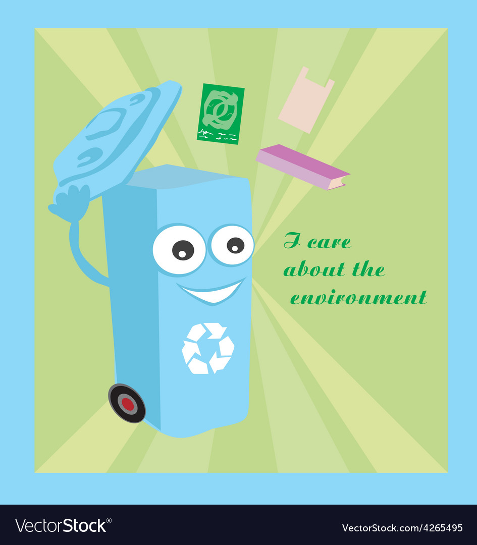 A cartoon representing a funny recycling bin vector | Price: 1 Credit (USD $1)