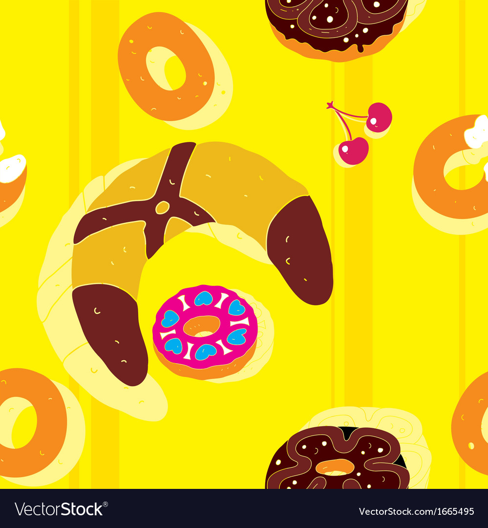 Bagels bright seamless pattern vector | Price: 1 Credit (USD $1)