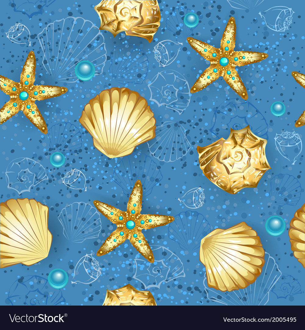 Blue seamless of gold seashells vector | Price: 1 Credit (USD $1)
