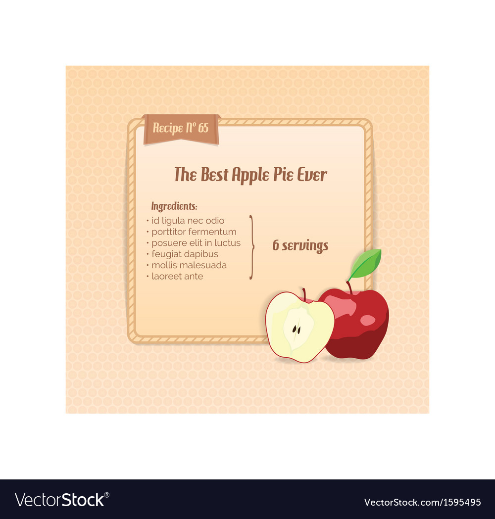 Bright recipe card with cute cartoon apple vector | Price: 1 Credit (USD $1)