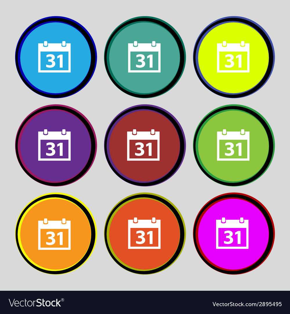 Calendar sign icon 31 day month symbol date button vector | Price: 1 Credit (USD $1)