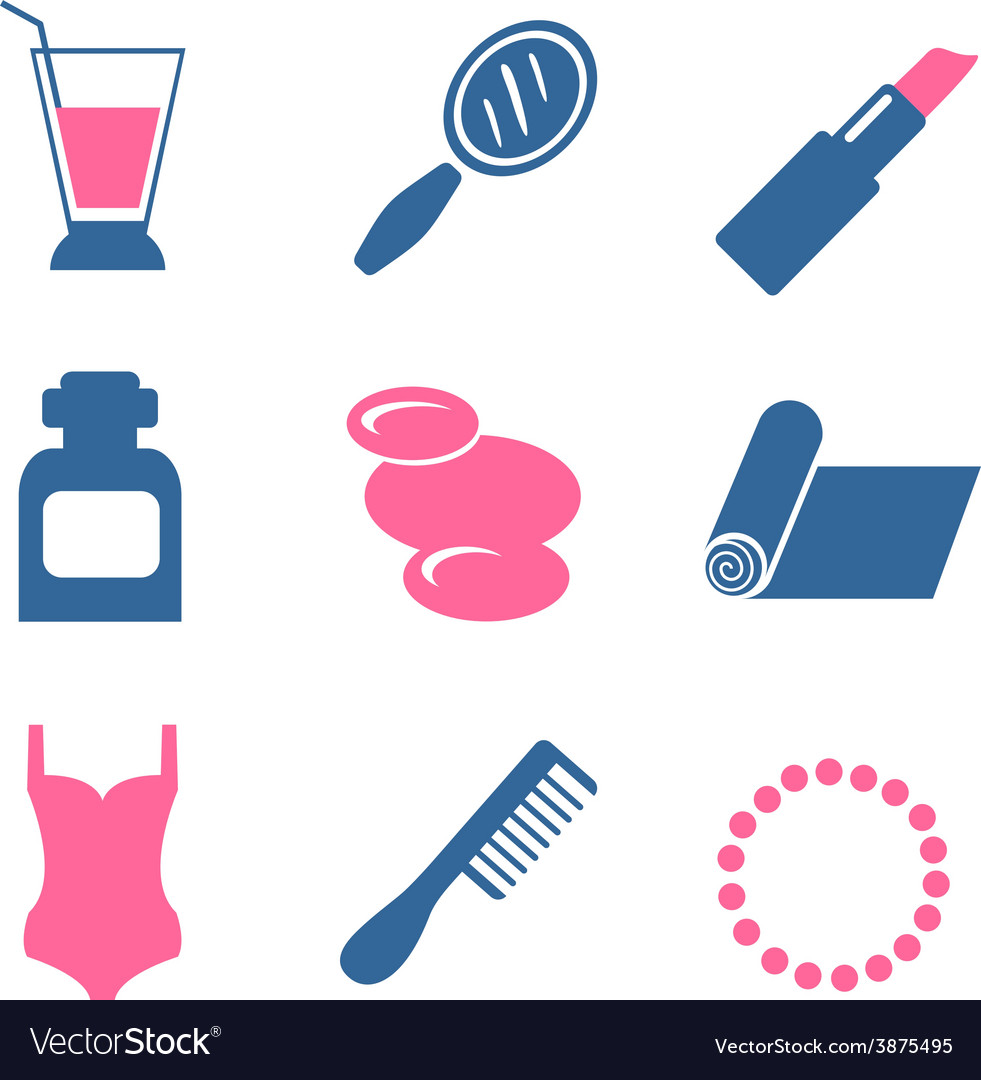 Color beauty icons on white background vector | Price: 1 Credit (USD $1)