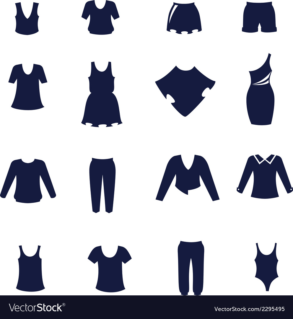 Different types of women clothing as flat icons vector | Price: 1 Credit (USD $1)
