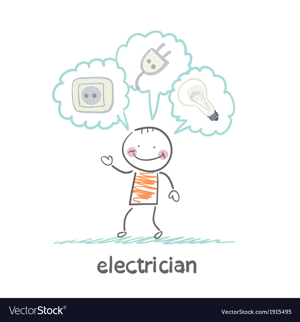 Electrician thinking about sockets plugs and lamp vector | Price: 1 Credit (USD $1)