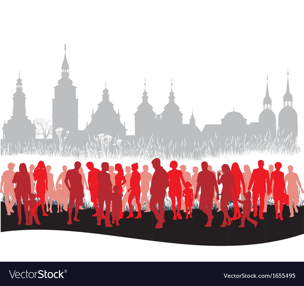 Group of people walking vector | Price: 1 Credit (USD $1)