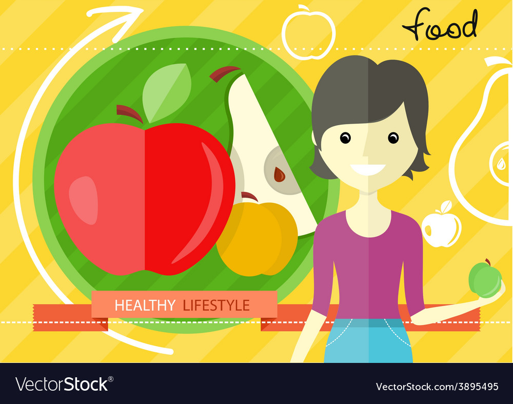 Healthy lifestyle foods concept vector | Price: 1 Credit (USD $1)