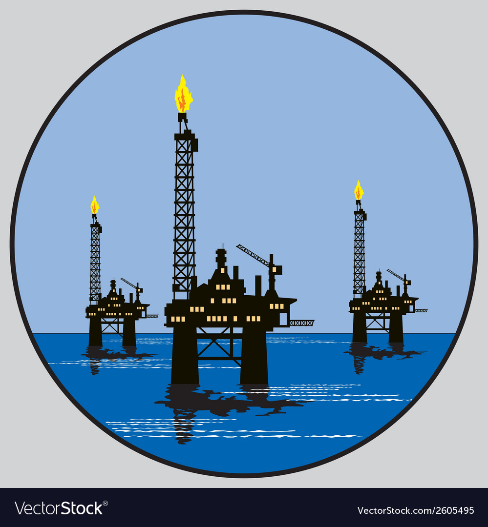Petroleum platform emblem vector | Price: 1 Credit (USD $1)