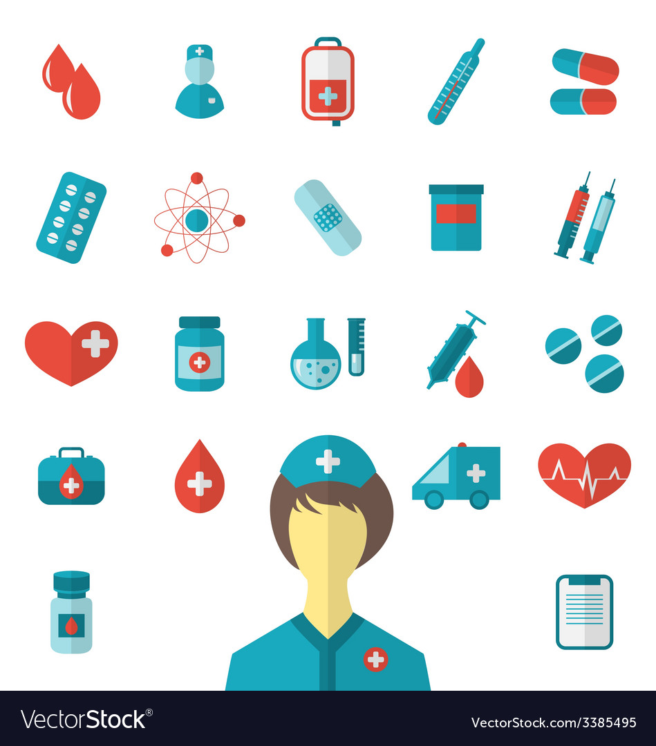 Set trendy flat medical icons isolated on white vector | Price: 1 Credit (USD $1)