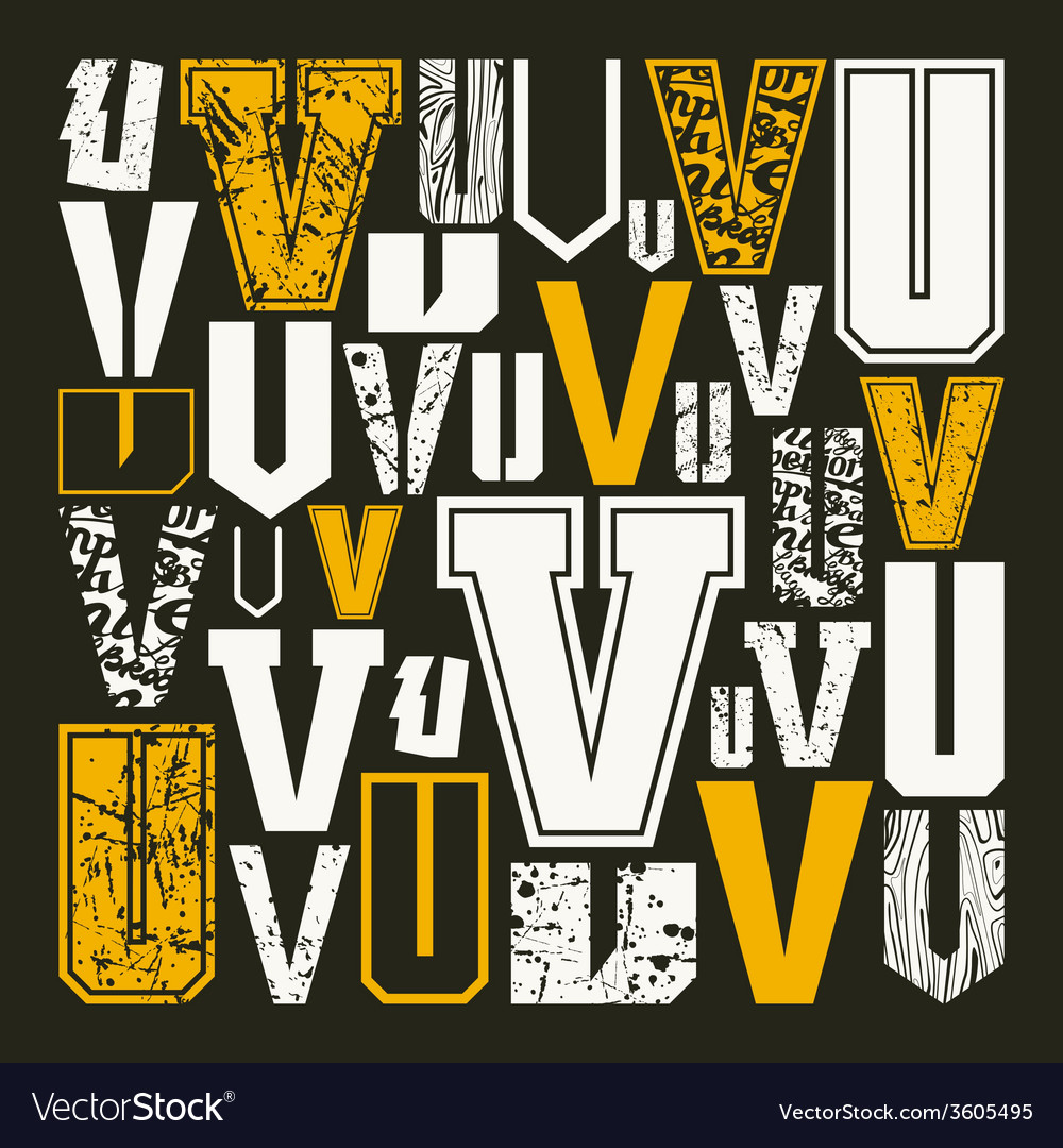Set versions of letters v vector | Price: 1 Credit (USD $1)