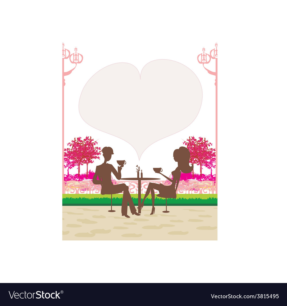 Silhouette of a man and woman drink coffee vector | Price: 1 Credit (USD $1)
