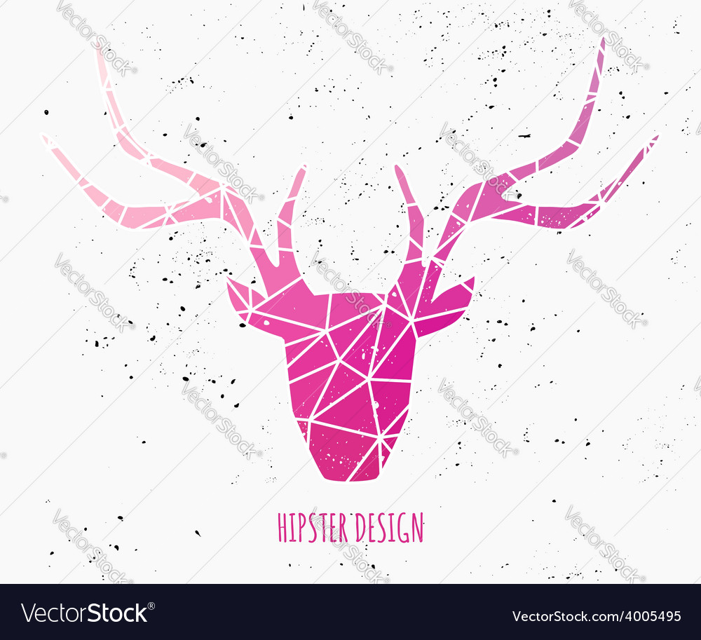 Stylized deer head with pink triangles design vector | Price: 1 Credit (USD $1)
