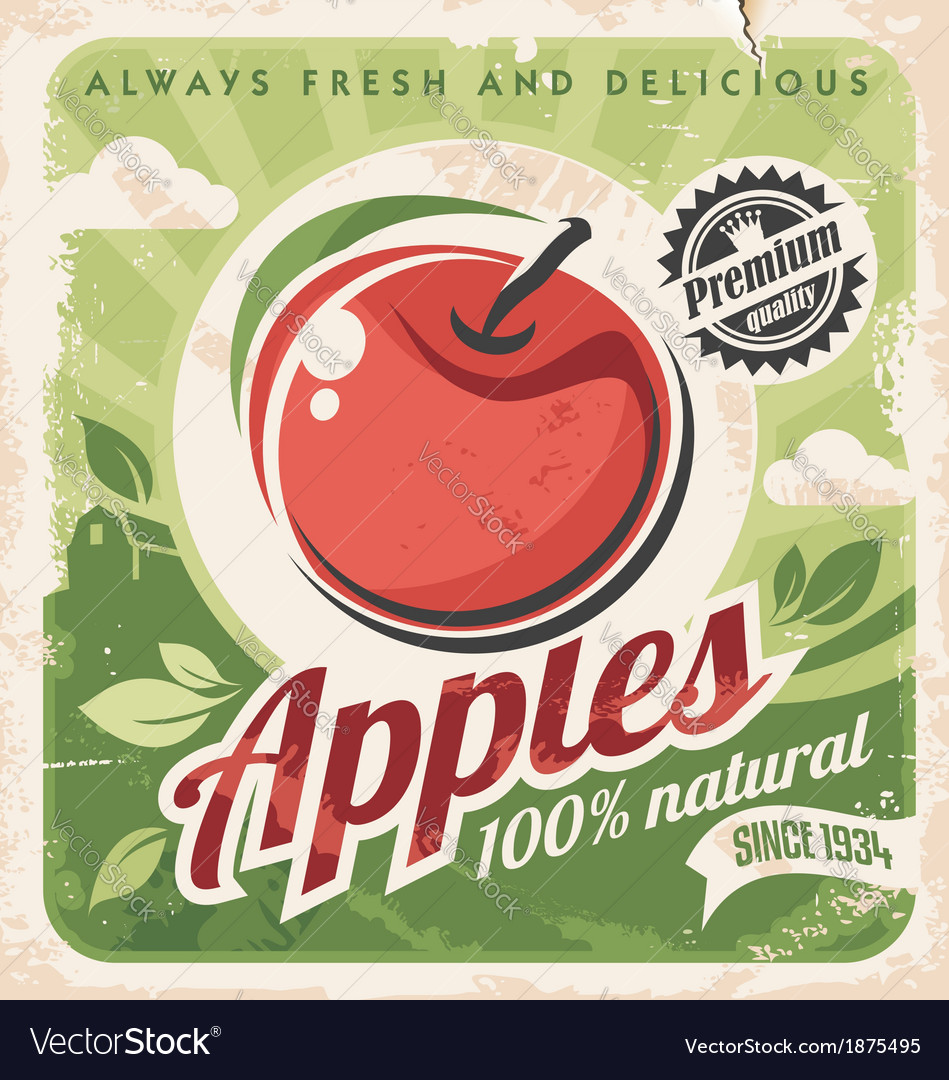 Vintage apple poster vector | Price: 1 Credit (USD $1)