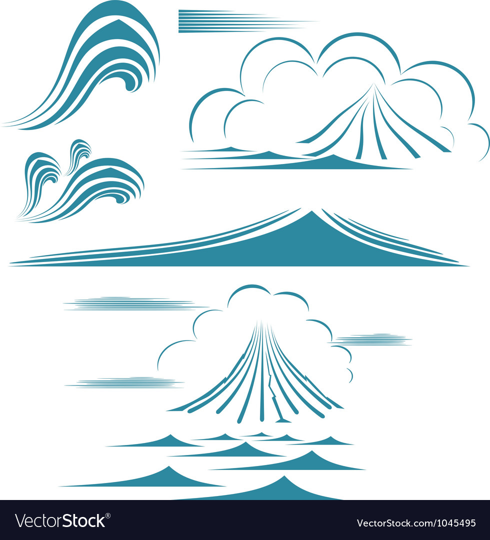Water wave symbol set vector   Price: 1 Credit (USD $1)