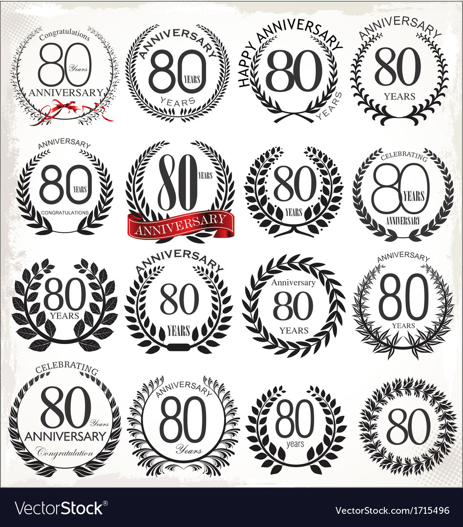 80 years anniversary laurel wreaths vector | Price: 1 Credit (USD $1)
