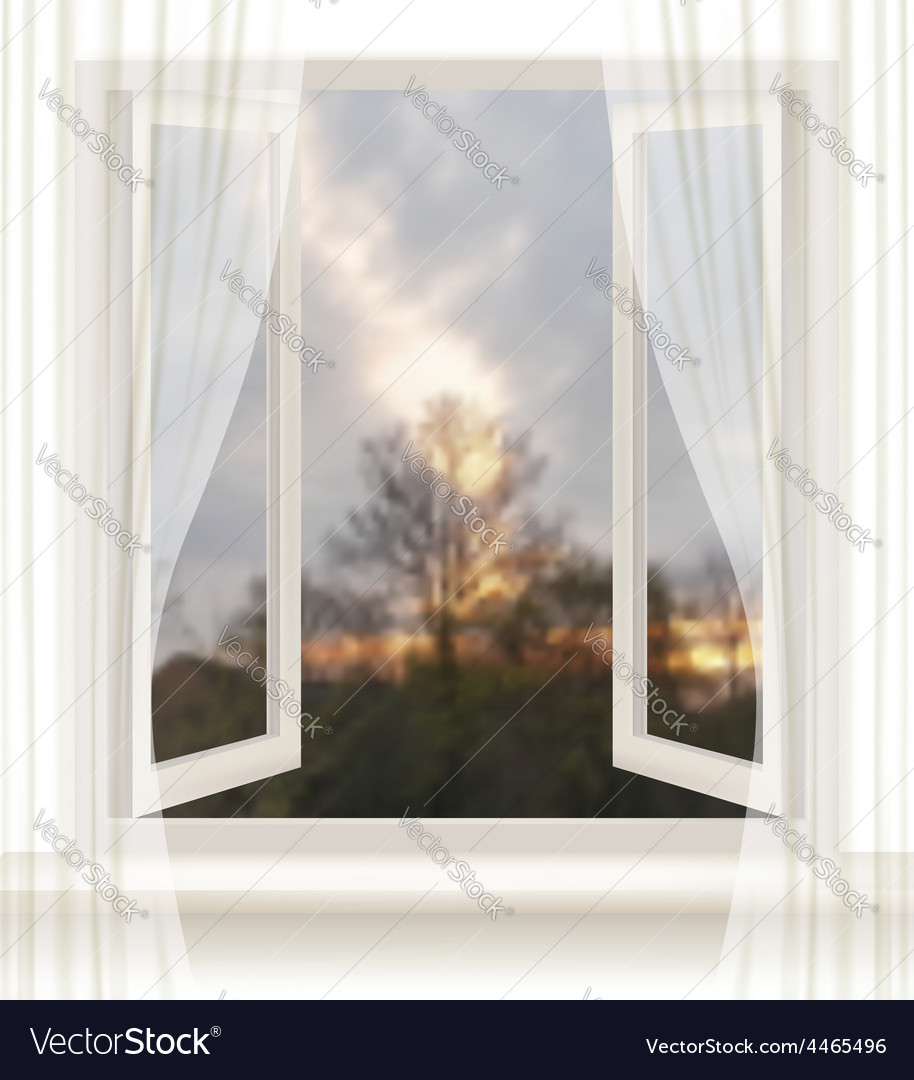Background with an open window and an evening vector | Price: 3 Credit (USD $3)