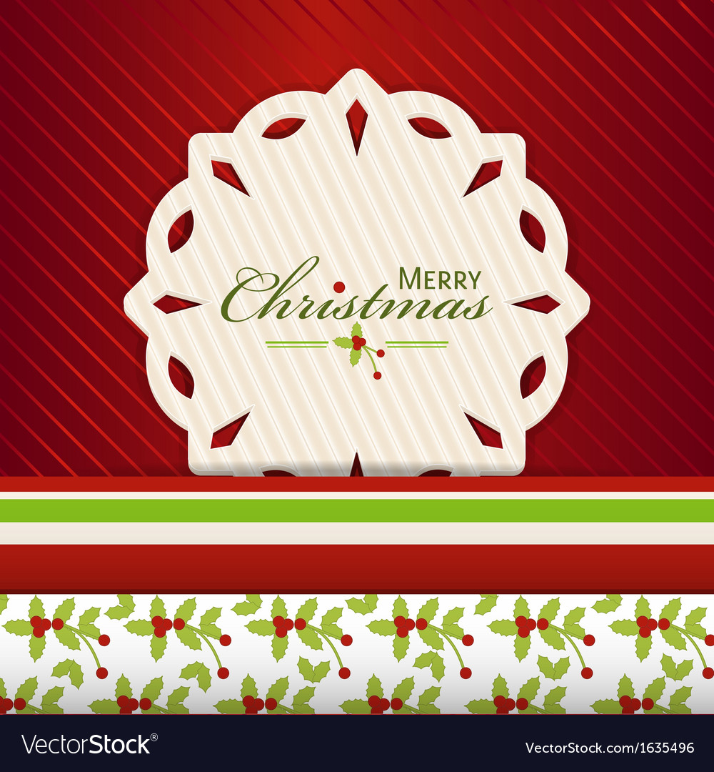 Christmas snowflake label on red2 vector | Price: 1 Credit (USD $1)
