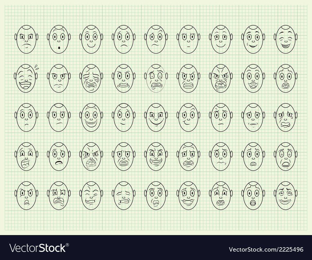 Collection of emotion face vector | Price: 1 Credit (USD $1)
