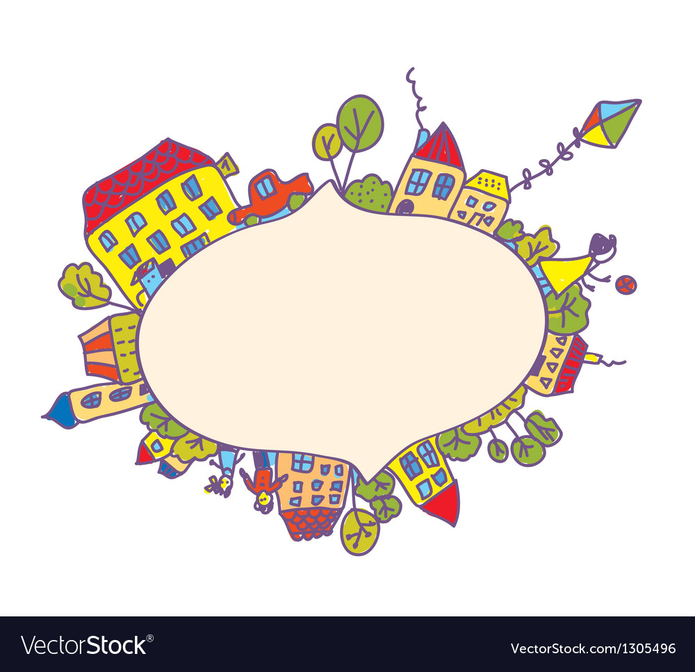 Frame with children and houses vector | Price: 1 Credit (USD $1)