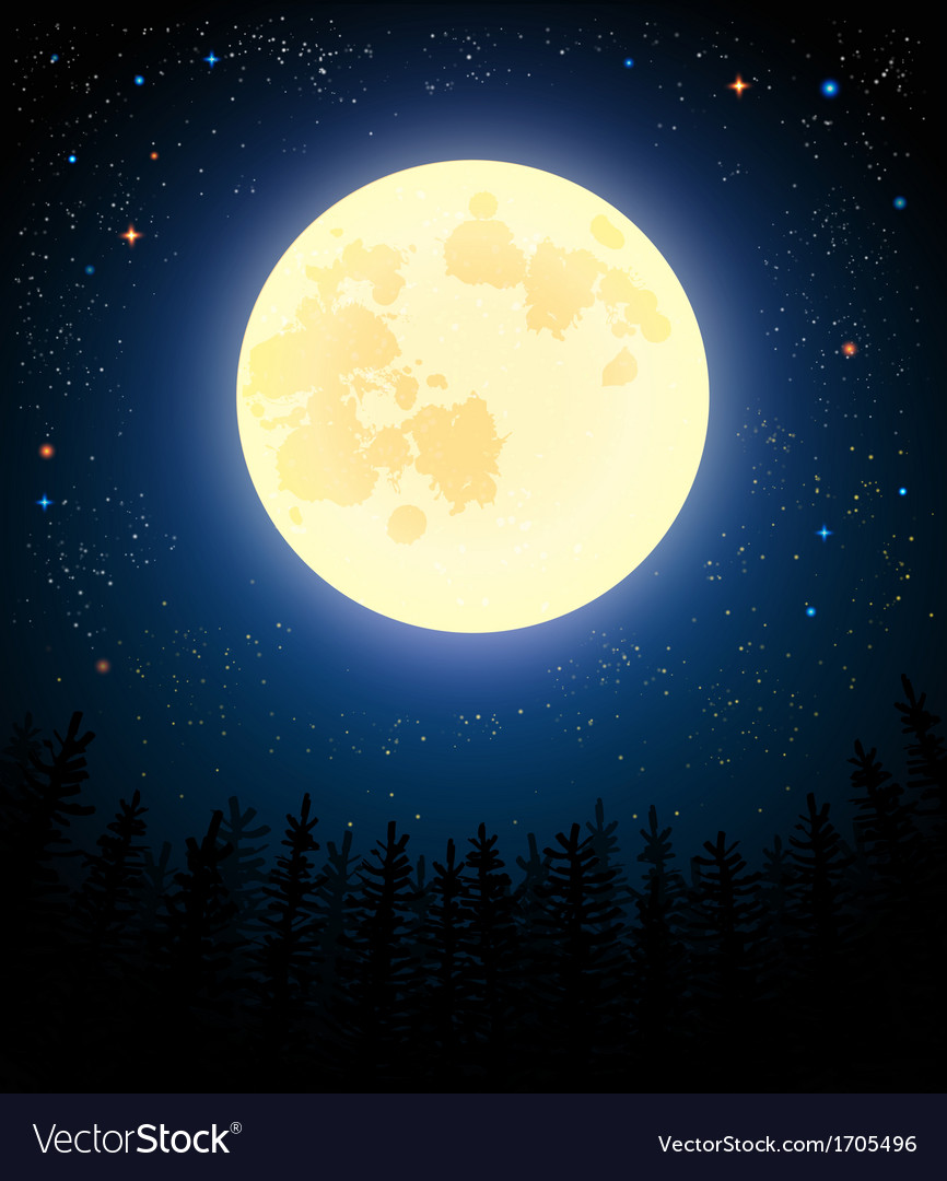 Full moon shines on a pine forest vector | Price: 1 Credit (USD $1)