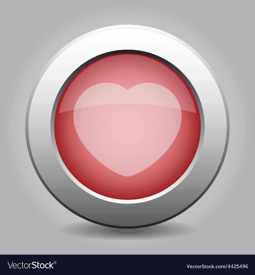 Gray chrome button with heart vector | Price: 1 Credit (USD $1)