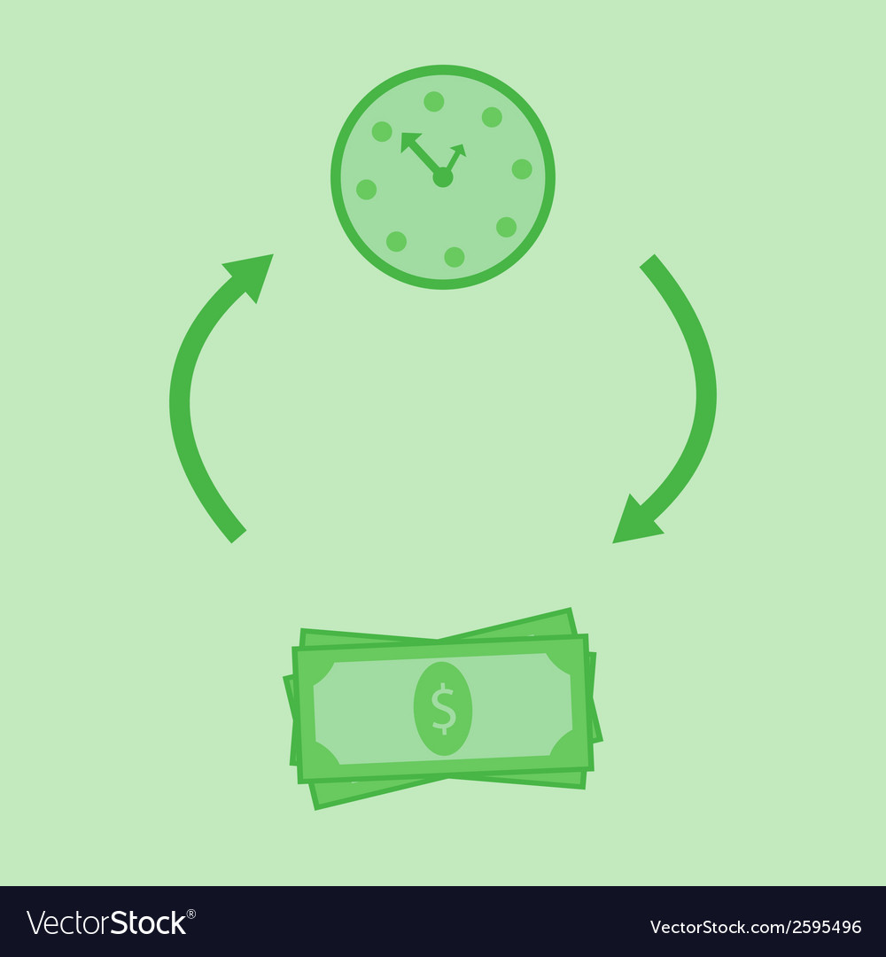 Green time is money vector | Price: 1 Credit (USD $1)