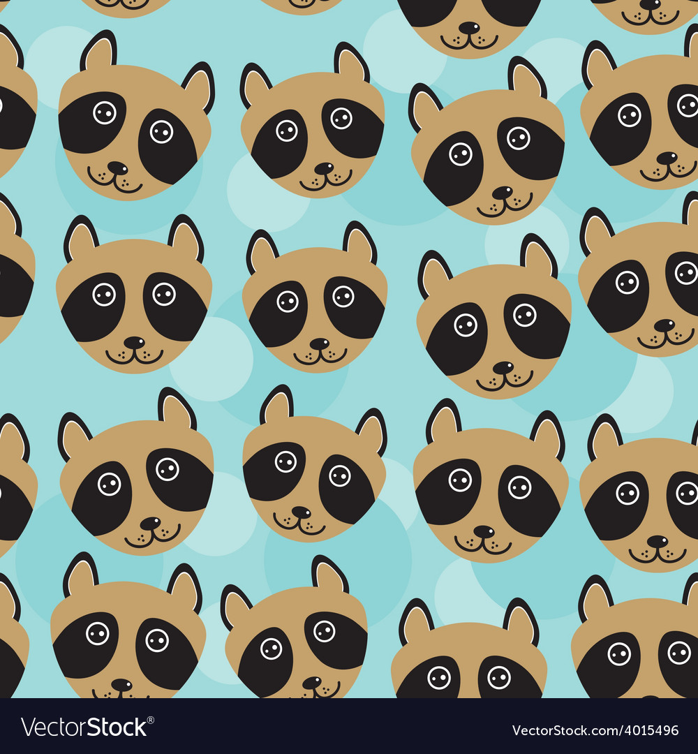 Raccoon seamless pattern with funny cute animal vector | Price: 1 Credit (USD $1)