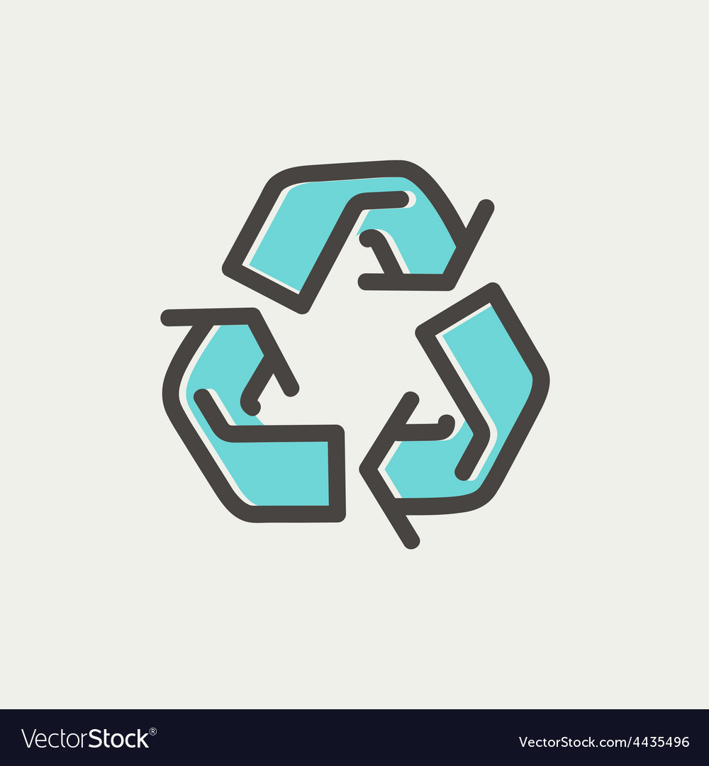 Recycle symbol thin line icon vector   Price: 1 Credit (USD $1)