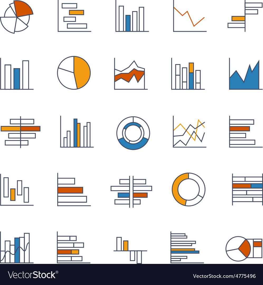 Set of chart icons in thin lines vector | Price: 1 Credit (USD $1)