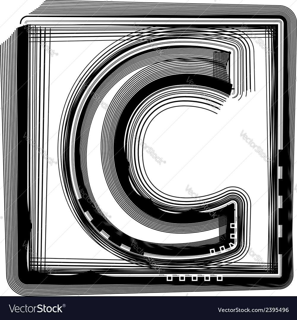 Striped font letter c vector | Price: 1 Credit (USD $1)