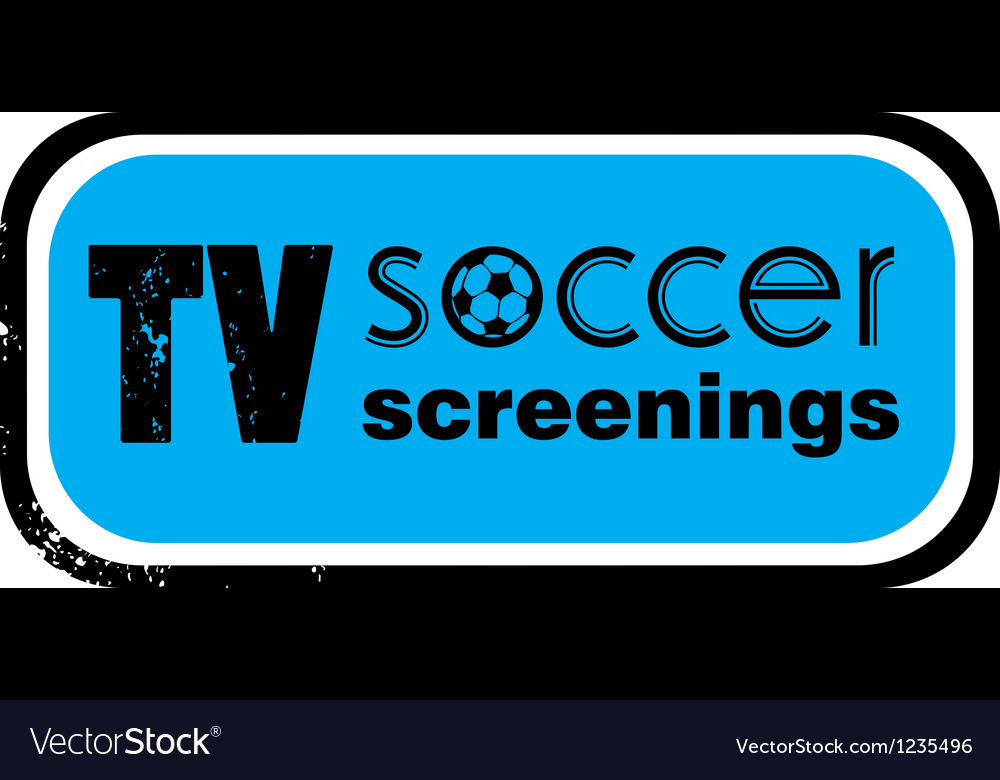 Tv soccer screenings stamp vector | Price: 1 Credit (USD $1)